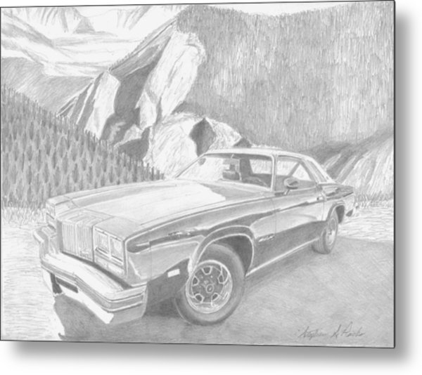 1976 Oldsmobile Cutlass Supreme Classic Car Art Print Metal Print by Stephen Rooks