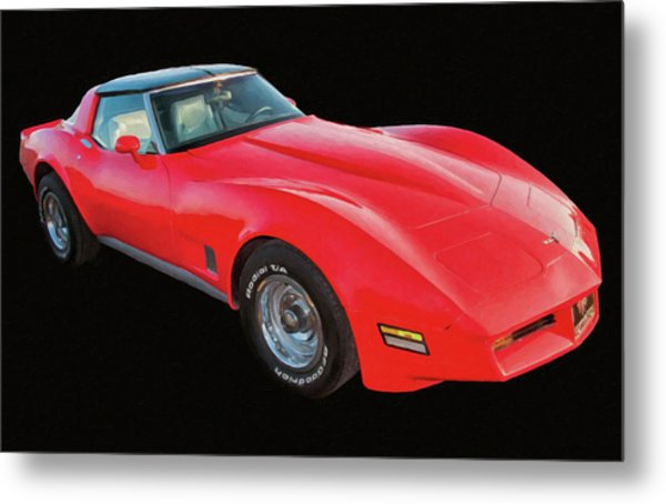 1977 Chevy Corvette T Tops Digital Oil Metal Print