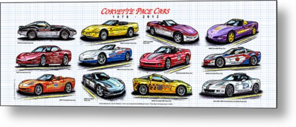 1978 - 2012 Indy 500 Pace Car Corvettes Metal Print