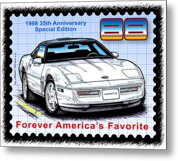 1988 35th Anniversary Special Edtion Corvette Metal Print