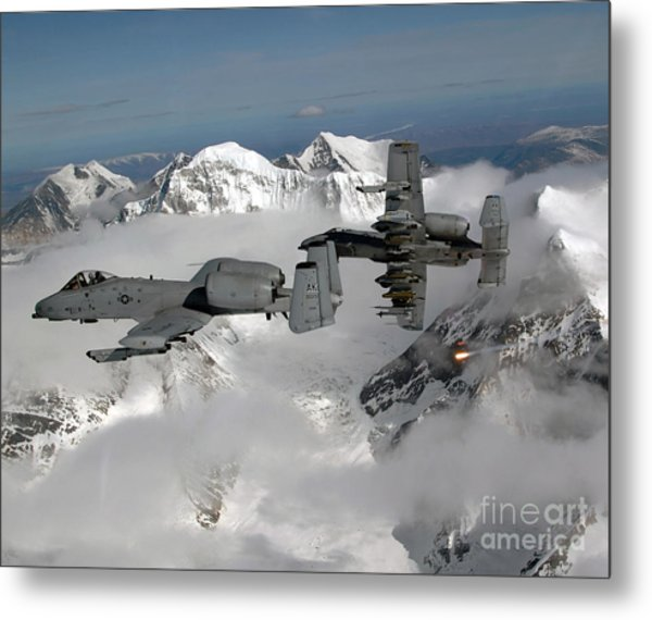 Metal Print featuring the photograph A-10 Thunderbolt IIs Fly by Stocktrek Images