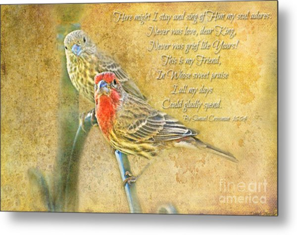 A Pair Of Housefinches With Verse Part 2 - Digital Paint Metal Print