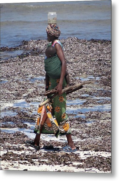 African Woman Collecting Shells 1 Metal Print