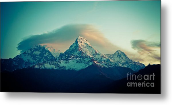 Annapurna South At Sunrise In Himalayas Artmif Photo Raimond Klavins Metal Print