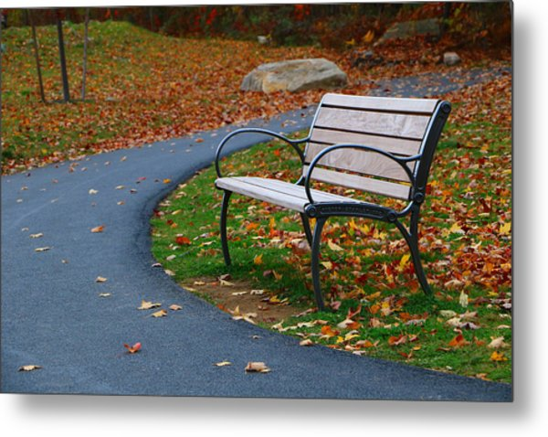 Bench On The Walk Metal Print