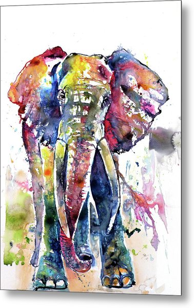 Big Colorful Elephant Metal Print
