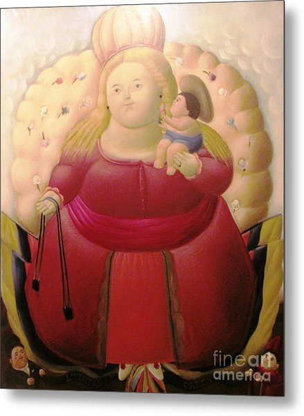 Botero Woman And Child Metal Print