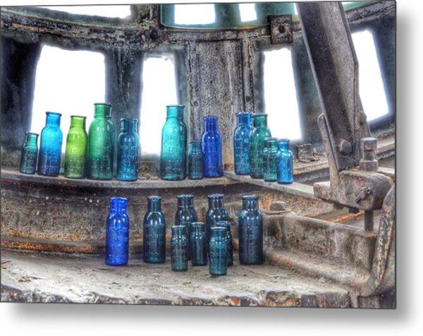 Bromo Seltzer Vintage Glass Bottles  Metal Print