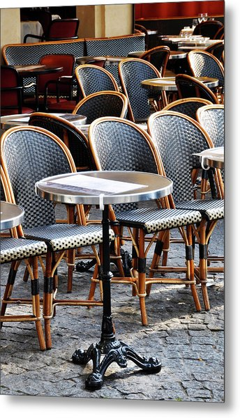 Cafe Terrace In Paris Metal Print