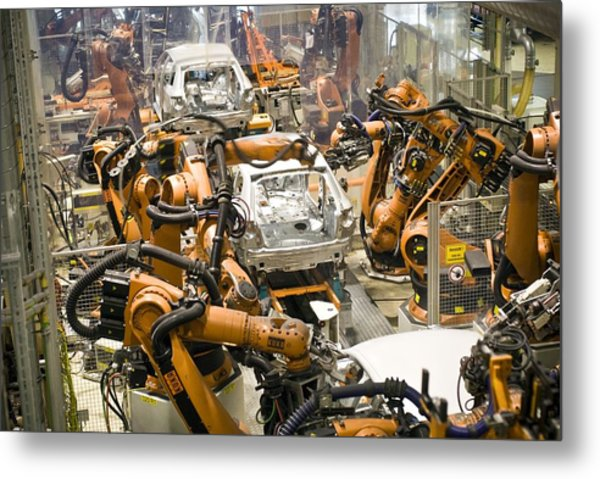 Car Factory Production Line Metal Print by Arno Massee