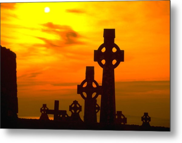 Celtic Crosses In Sunset Metal Print by Carl Purcell