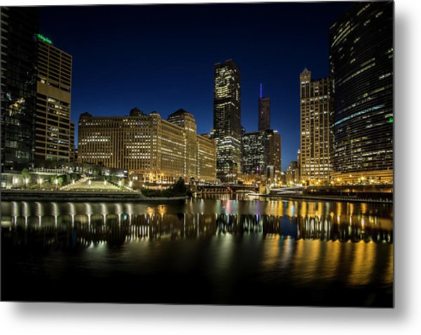 Chicago River And Skyline At Dawn Metal Print