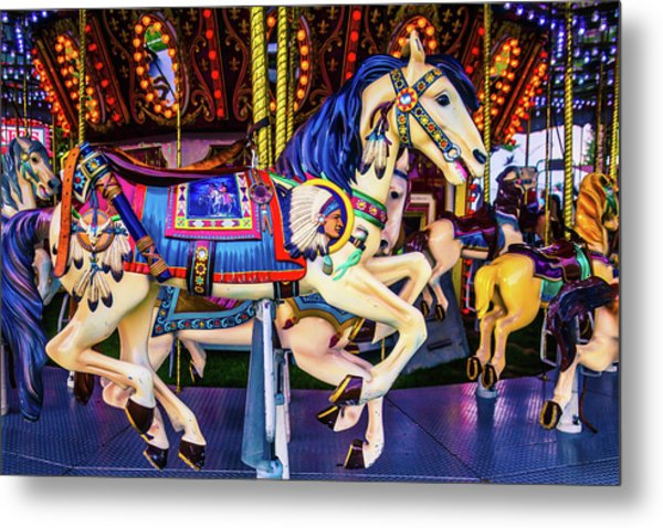 Childhood Carrousel Ride Metal Print