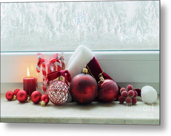 Christmas Windowsill Metal Print