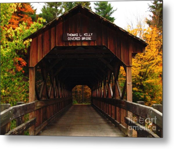 Covered Bridge At Allegany State Park Metal Print