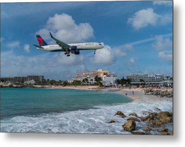 Delta Air Lines Landing At St. Maarten Metal Print
