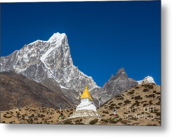 Dingboche Stupa In Nepal Metal Print