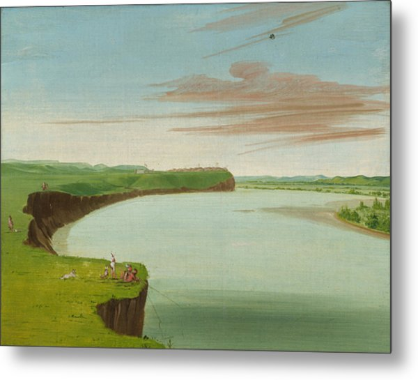 Distant View Of The Mandan Village Metal Print