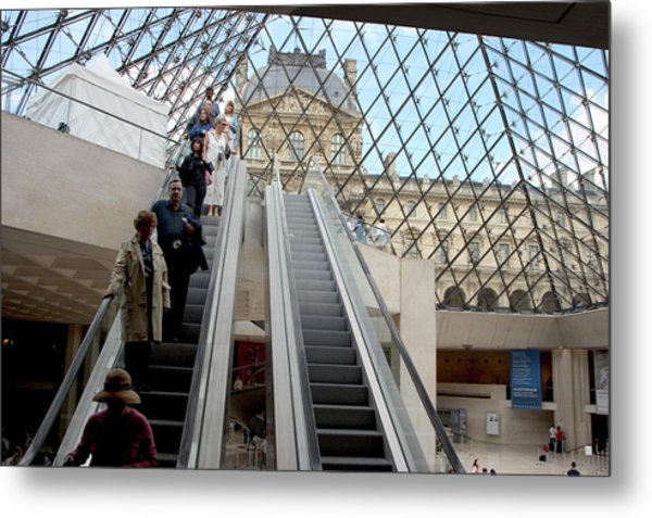 Escalator Entrance To Louvre Metal Print by Carl Purcell