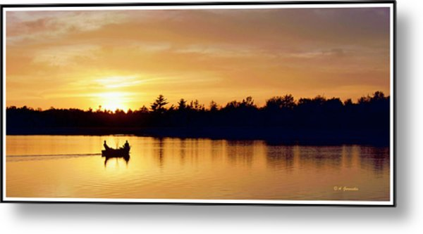 Fishermen On A Lake At Sunset Metal Print