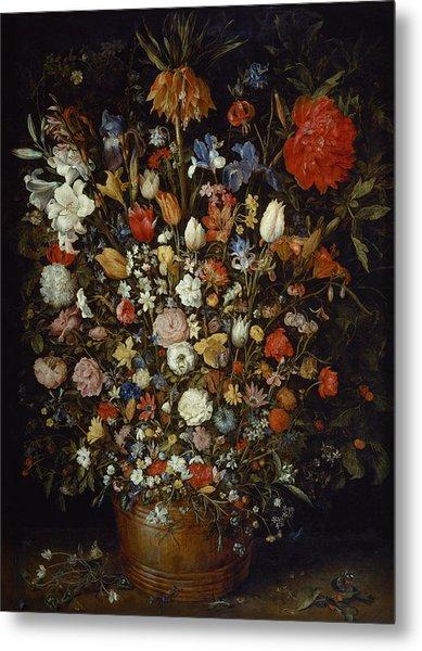 Flowers In A Wooden Vessel Metal Print