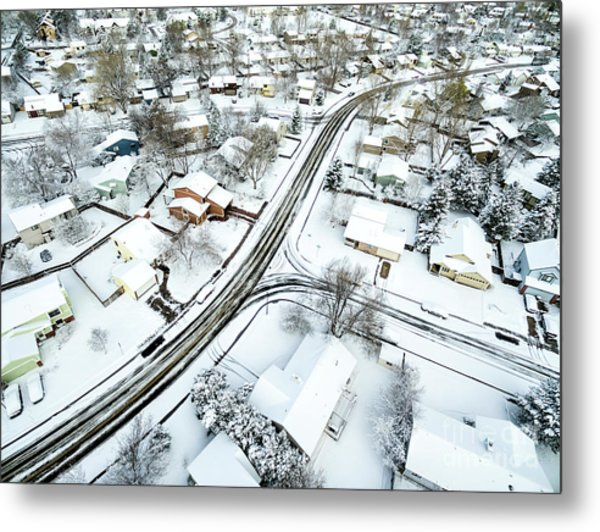 Fort Collins Winter Cityscape Metal Print