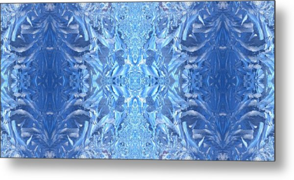 Frost Feathers Metal Print