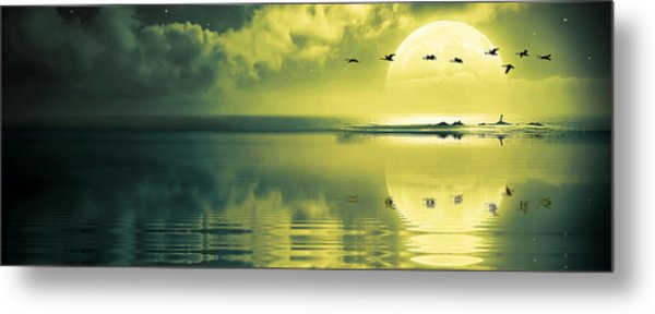 Fullmoon Over The Ocean Metal Print
