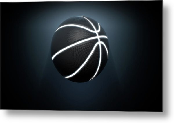 Futuristic Neon Sports Ball Metal Print