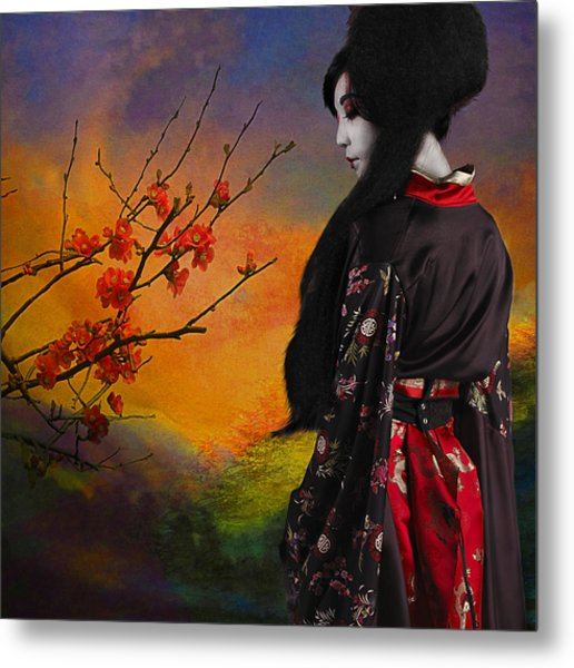 Geisha With Quince Metal Print