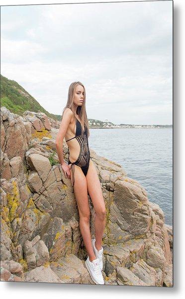 Girl In Black Swimsuit Metal Print