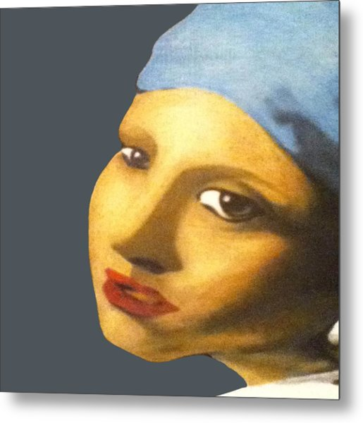 Metal Print featuring the painting Girl With Pearl Earring Face by Jayvon Thomas