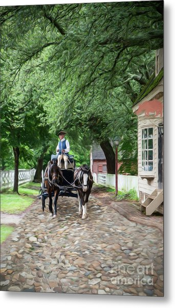 Horse Drawn Wagon Metal Print