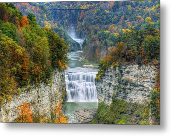 Hot Air Balloon Over The Middle Falls At Letchworth State Park Metal Print