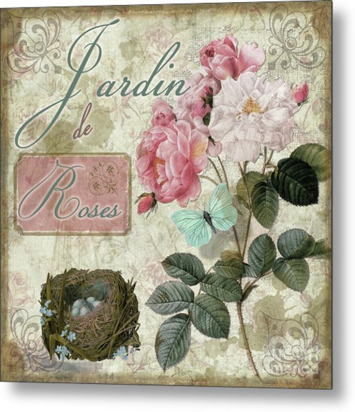 Jardin De Roses Metal Print