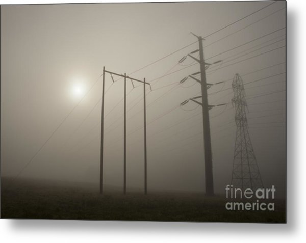 Large Transmission Towers In Fog Metal Print