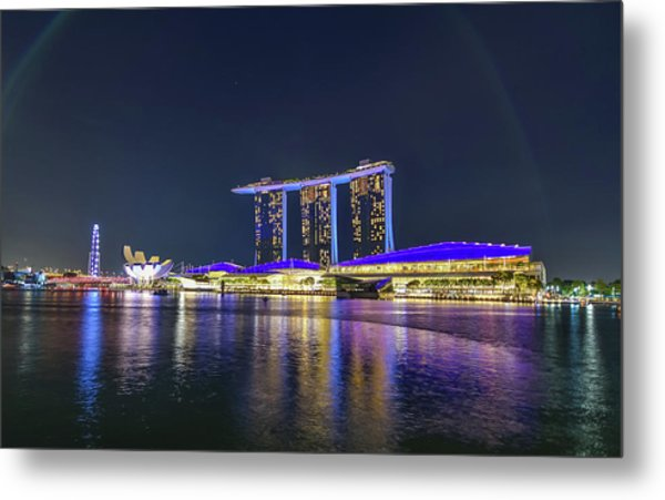 Marina Bay Sands And The Artscience Museum In Singapore Metal Print