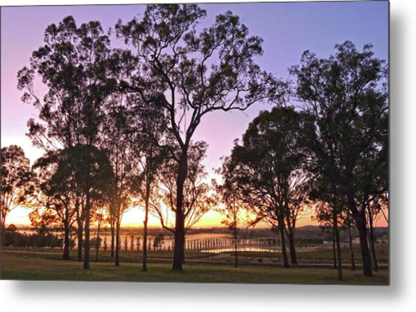 Misty Rural Scene With Dam And Trees Metal Print