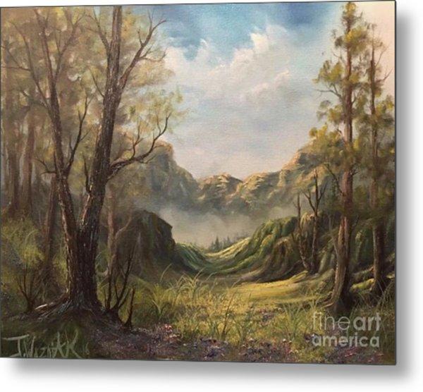 Misty Valley Metal Print by Paintings by Justin Wozniak