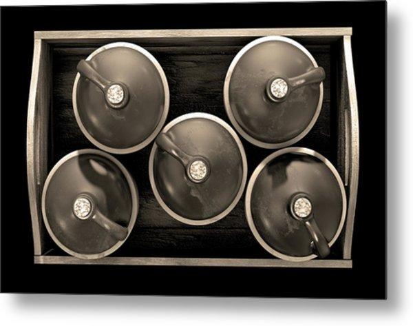 Moonshine In Wooden Crate Metal Print