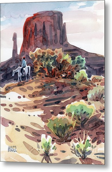 Navajo Rider Metal Print by Donald Maier