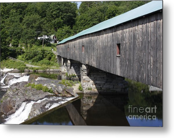 New Hampshire Covered Bridge Metal Print by Stan and Anne Foster