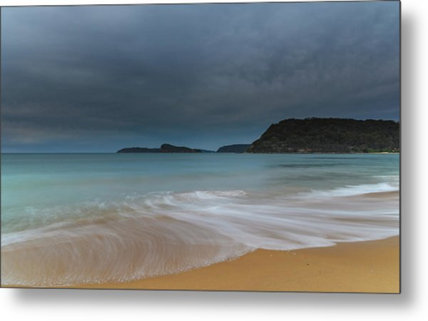 Overcast Cloudy Sunrise Seascape Metal Print