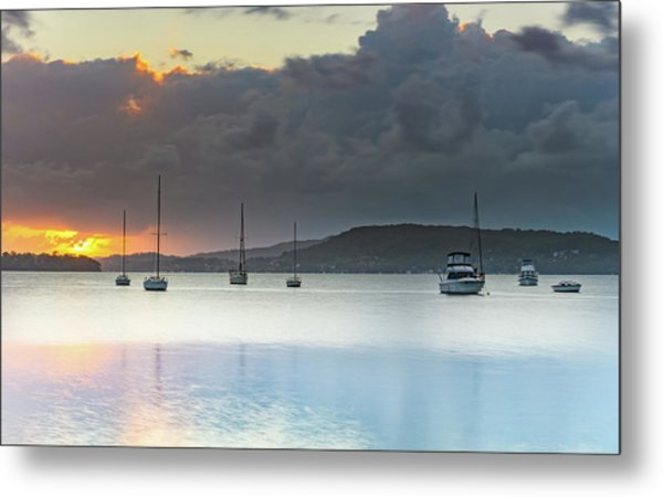 Overcast Sunrise Waterscape Metal Print