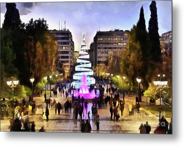 Painting Of Christmas Tree In Syntagma Square Metal Print