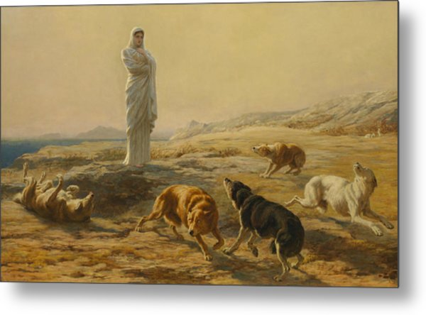 Pallas Athena And The Herdsman's Dogs Metal Print