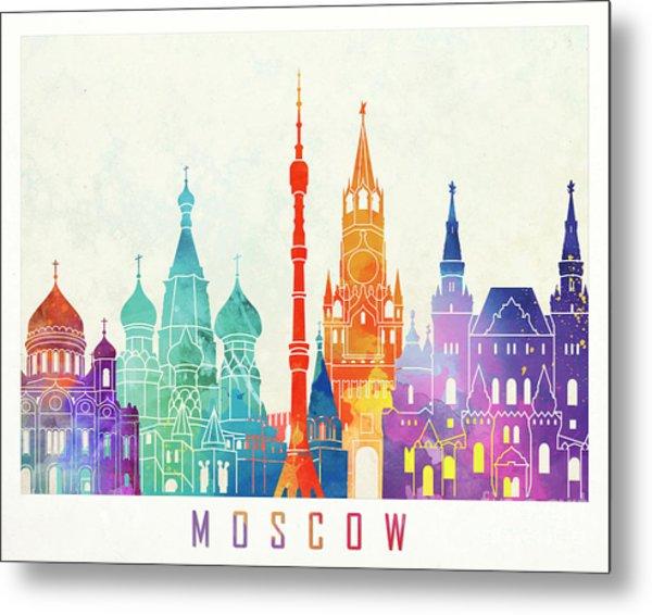 Paris Landmarks Watercolor Poster Metal Print