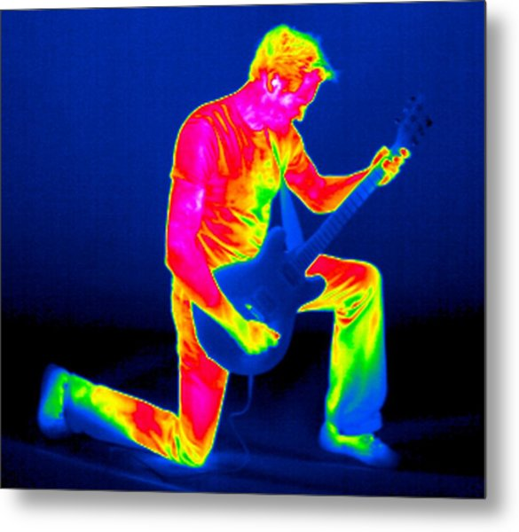 Playing Guitar, Thermogram Metal Print by Tony Mcconnell