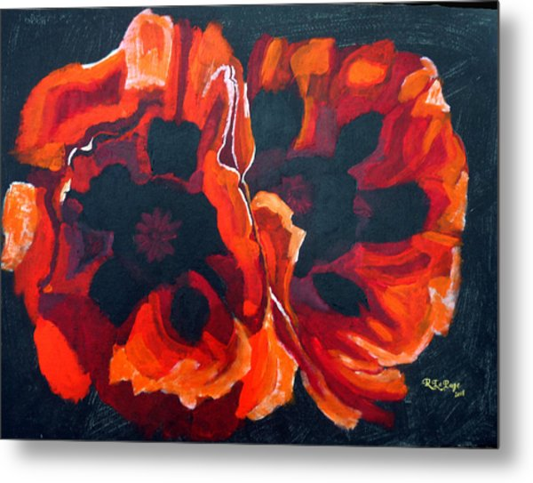 2 Poppies Metal Print