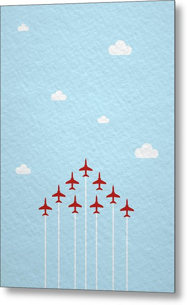 Raf Red Arrows In Formation Metal Print